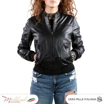 Timberly - Giacca donna in pelle, nero
