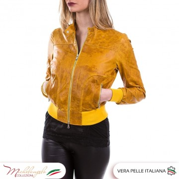 Bomber Timberly - Giacca Donna in vera pelle Vintage, colore Giallo Senape