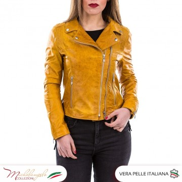D101 - Giacca Donna in vera pelle Vintage, colore Giallo OIL