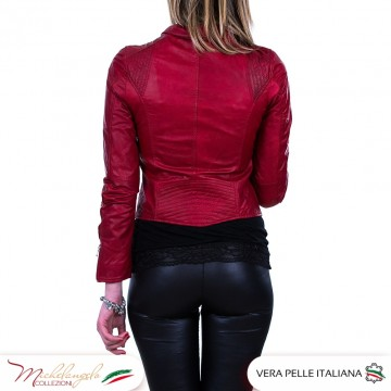 D101 - Giacca Donna in vera pelle Vintage, colore rosso OIL