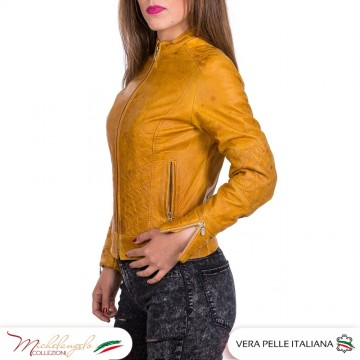 ARY - Giacca Donna in vera pelle Vintage, giallo OIL