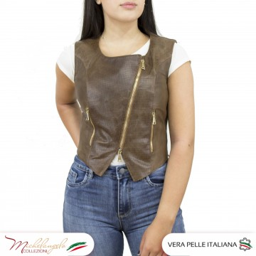 Gilet Elena - Giacca Donna in Vera Pelle Traforata color Marrone morbido - 1