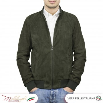 copy of Bomber uomo in pelle camoscio hand made - 1