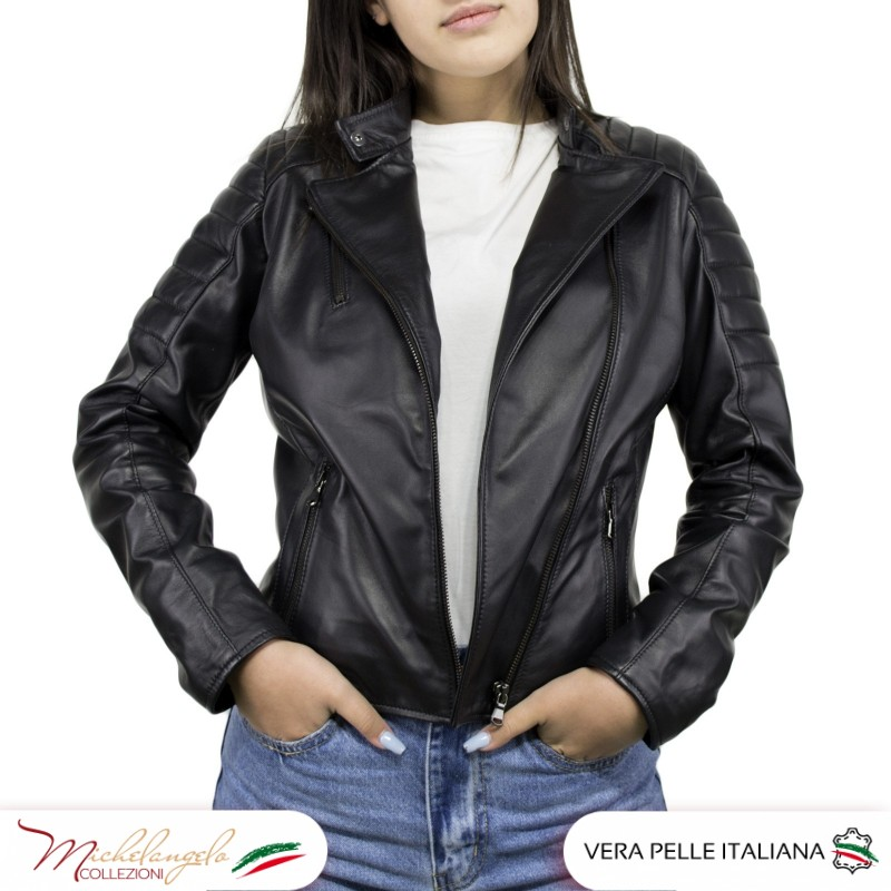 Giacca Donna in Pelle Nera - 020 - 4