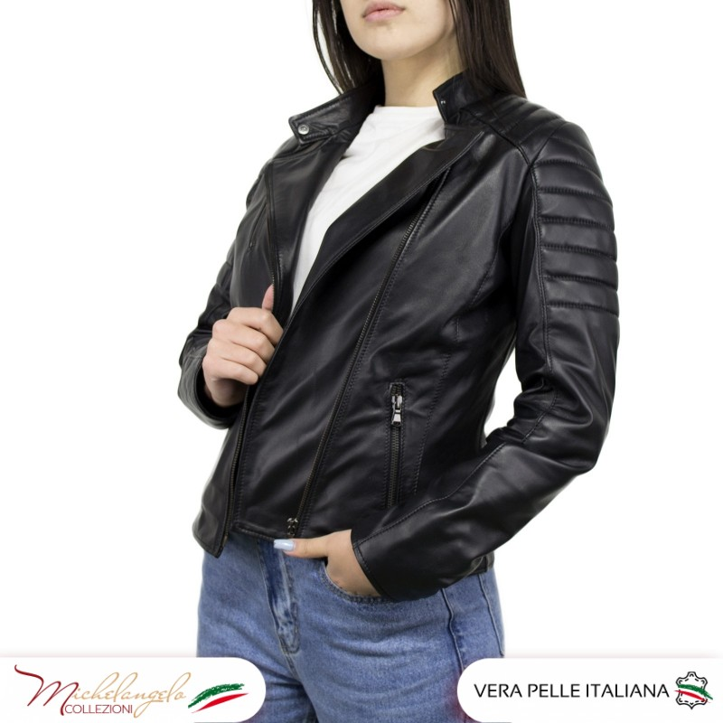 Giacca Donna in Pelle Nera - 020 - 5