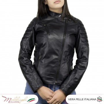 Giacca Donna in Pelle Nera - 020 - 7