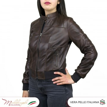 copy of Bomber da Donna in Pelle Senape Oil Vintage - Timberly - 1