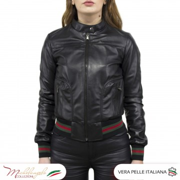 copy of Bomber da Donna in Pelle Rosso Oil Vintage - Timberly - 1