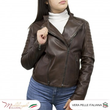 copy of Biker chiodo donna in vera pelle colletto coreano zip trasversale - Chiodo Roma - 1