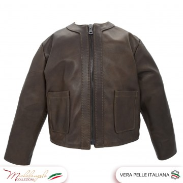 Giacca baby in vera pelle made in Italy per bambino - 1