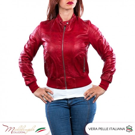 Bomber Donna - Giacca Donna in vera pelle Vintage, colore rosso OIL